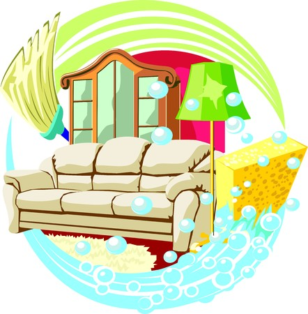 personal de limpieza: Muestra del servicio de limpieza en el interior del hogar Vectores