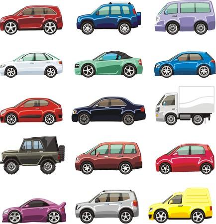 mini car: cartoon passenger car lorry and van for illustration Illustration