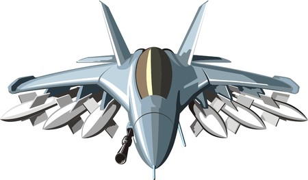 the air attack: military combat jet with many weapons missiles and gun
