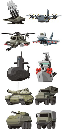 vehicle combat: set of the military combat vehicle plane and boats