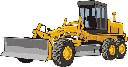 bulldozer: yellow wheel building bulldozer