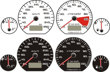 odometer: white and black background dash board tools