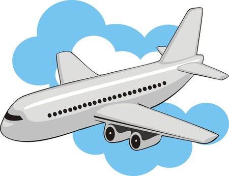airway:  passenger plane on a clouds background Illustration