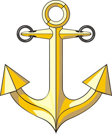 golden anchor for boat parking marine sign Illustration