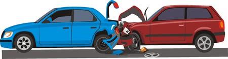 car crash: cars with crashed front and back Illustration