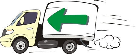 open car door: lorry with arrow on a box for fast delyvery Illustration