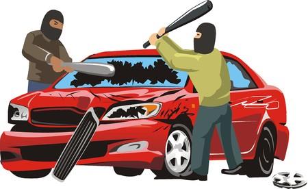 splinter: two persons in mask split car