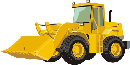 yellow tractors: construction wheel bulldozer with big showel Illustration