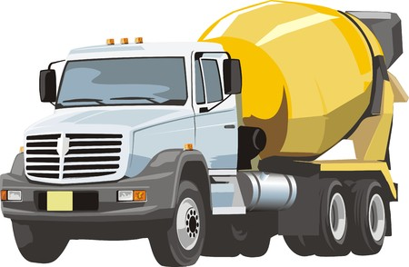 truck with concrete mixer for building construction
