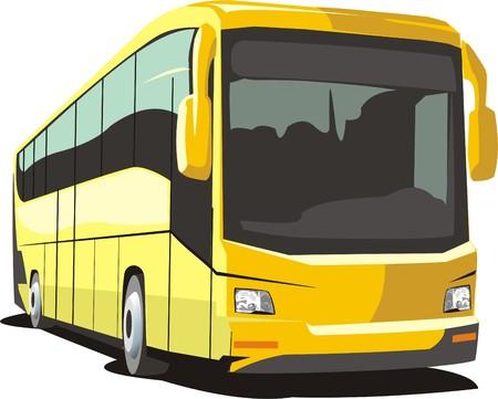 comfortabele bus voor het vervoer van passagiers door wegen Stock Illustratie