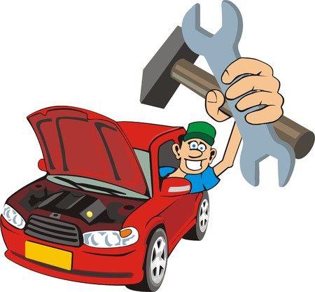 open car: car master with wrench and hummer in hand Illustration