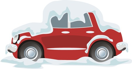 winter car: passenger car under the snow and ice Illustration