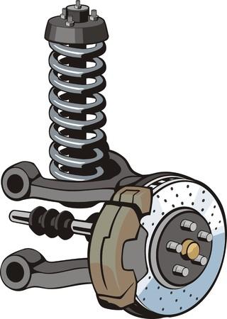 kingpin: car front suspension with brake;disc Illustration