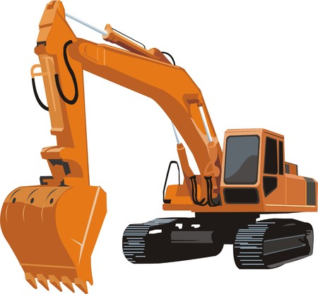 yellow consruction excavator on a caterpiller base 免版税图像 - 31399839