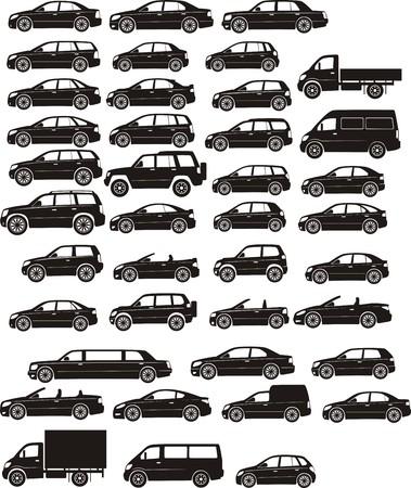 camioneta pick up: siluetas de coches
