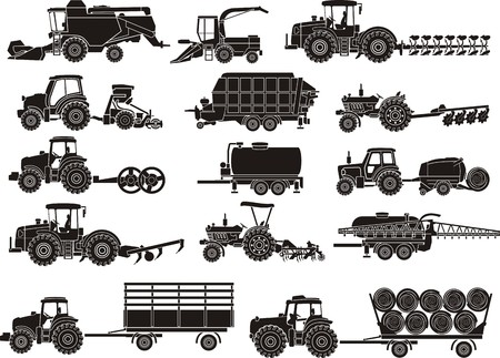 agricultural machine silhouettes set Stock Illustratie