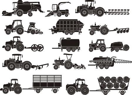 Macchine agricole silhouettes set Archivio Fotografico - 31403008