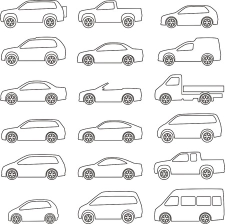 keyline: set of circuits with different types of vehicles bodies