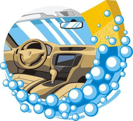 autolavaggio: lavaggio auto interni e pulito Vettoriali