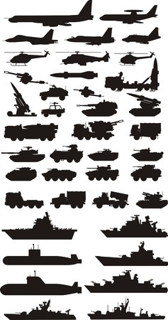 military silhouettes: military mashine plane and boats silhouettes