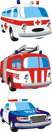 dolor de pecho: escena de los coches de los servicios de emergencia Vectores