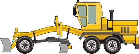 dredge to dig: yellow wheel building bulldozer