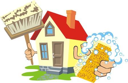 soapy: casa con una esponja jabonosa y un cepillo Vectores