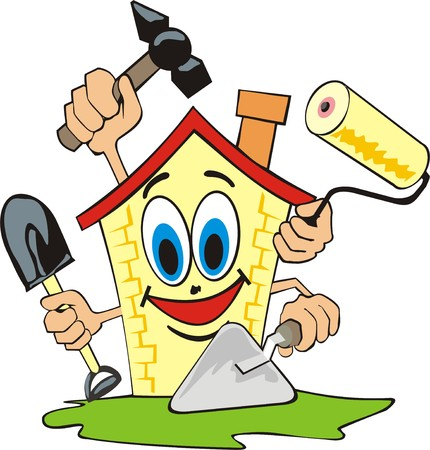house work: cartoon house does repair work