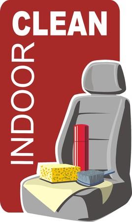 car indoor clean Vector
