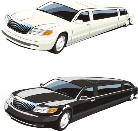 limousine: white and black limousines