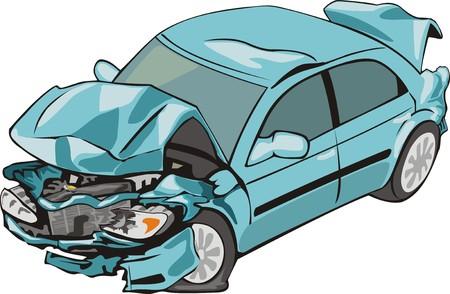 auto waard crashte voor en achter Stock Illustratie