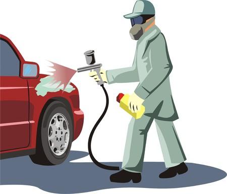 car painter dyes a car