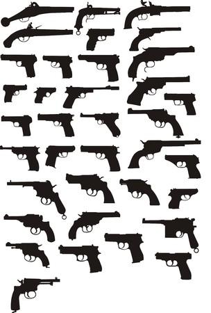 gun silhouette: pistol silhouettes Illustration