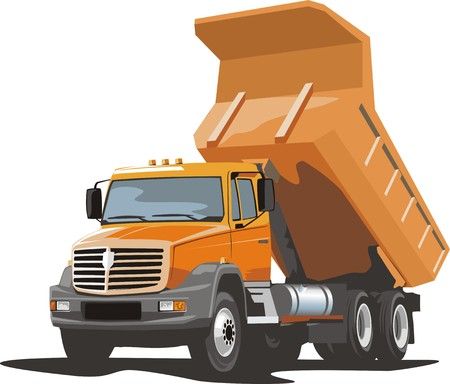 building dump truck for loose material Illustration