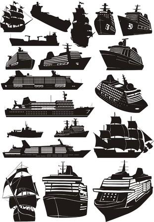 reeks silhouet diverse soort zee naves Stock Illustratie