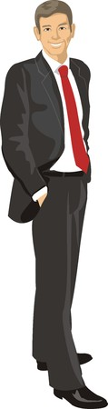 complacent: man in suit Illustration