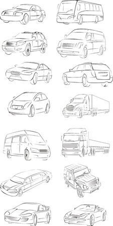 injecting: set of the draft vector cars of the different types Illustration