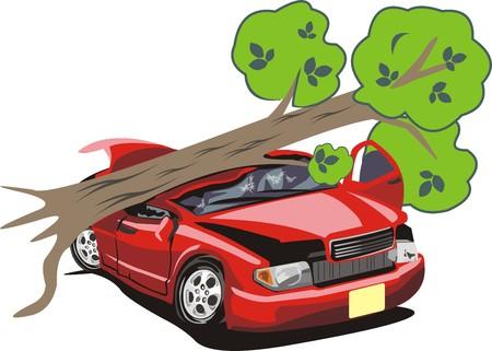Tree tumbled on a car Illustration