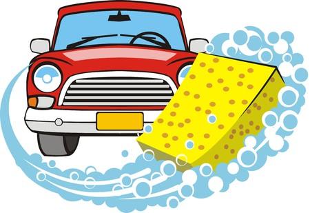 car wash: sign a car body washing