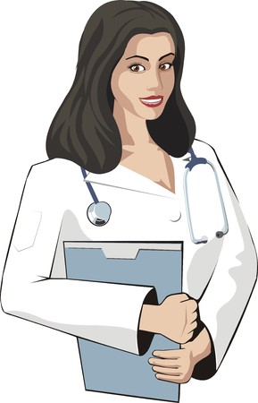 diagnosing: woman doctor with a file folder and stethoscope Illustration