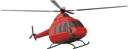 avia: red flying helicopter