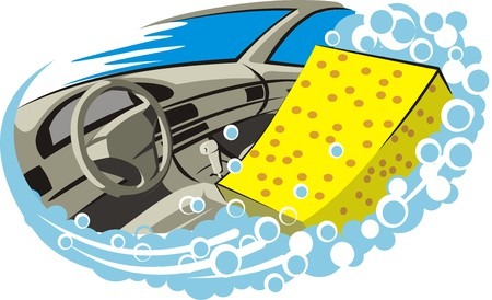 car clean: car interior wash and clean Illustration