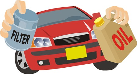 Olie reparatie in auto-motor Stock Illustratie