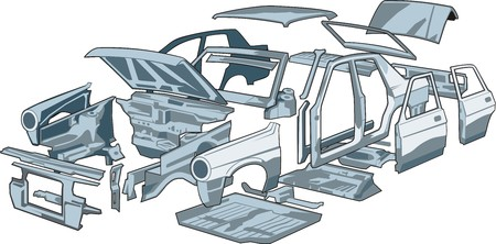 car door: car body parts Illustration
