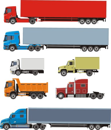 quicksand: truck and lorry set Illustration