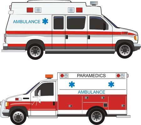 dolor de pecho: dos coches de ayuda médica rápido Vectores