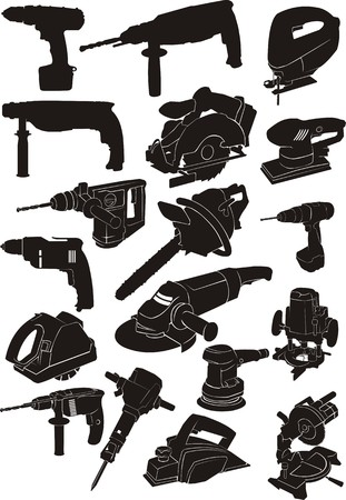 set silhouette manual electric instrument