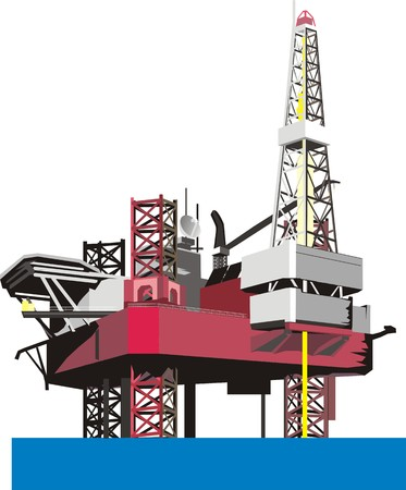 gusher: oil bore platform Illustration