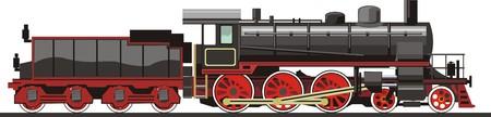 Oude locomotief op stoom te trekken Stock Illustratie