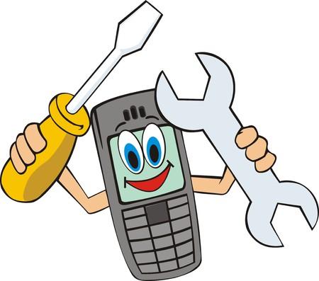 mobiele telefoon met een schroevendraaier en moersleutels